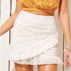 Ruffle Trim Eyelet Skirt